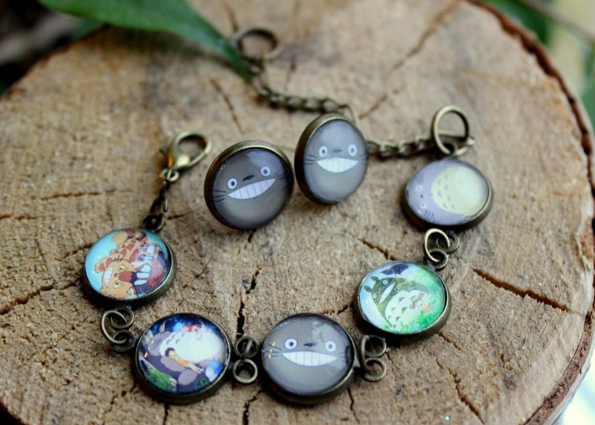 """Очень симпатичный комплект: браслет и серьги """"Тоторо"""""""