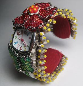Наручные часы «Flower Power» с бисерным браслетом