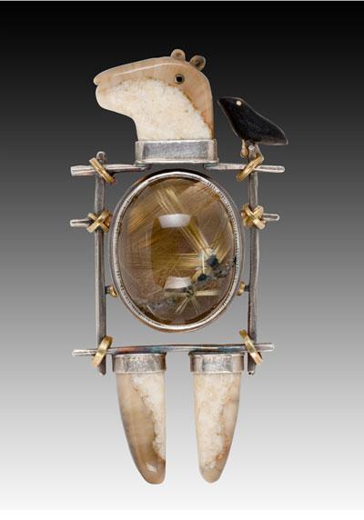 Кварциды, черное дерево и кость в украшениях Carolyn Morris Bach