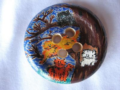 «Пасхальные коты» деревянная пуговица